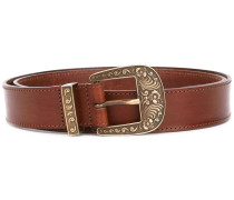 embossed buckle belt - women - Kalbsleder - M