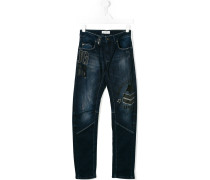 badge patch stretch jeans