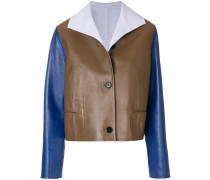 colour block leather jacket