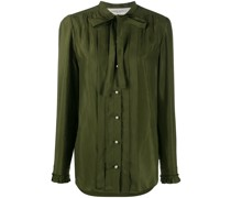 pleated tie neck buttoned shirt