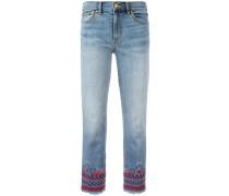 - Cropped-Jeans mit Stickerei - women