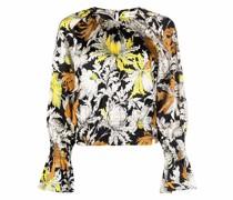 Cropped-Bluse mit Blumen-Print