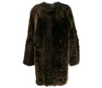 Zweifarbiger Faux-Fur-Mantel