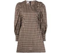 gingham puff-sleeve dress