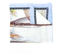 foliage print frayed edge scarf