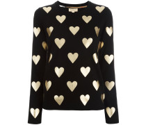 Pullover mit Metallic-Herzen