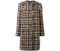 Tweed-Mantel mit Rundhalsausschnitt
