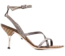 Sandalen mit Eidechsenleder-Effekt, 95mm