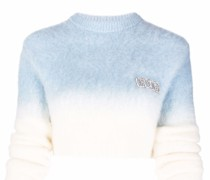 Cropped-Pullover mit Strass-Logo