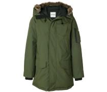 raccoon fur trim hooded coat