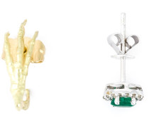 Set aus zwei Ohrringen aus Gelb- und Weißgold