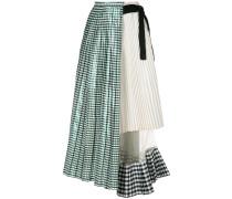 gingham-print pleated skirt