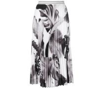 leaf print pleat skirt