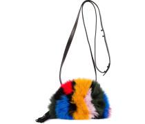 striped fox fur shoulder bag
