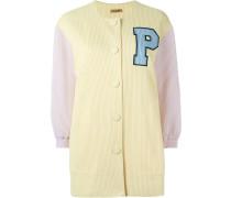 'P' appliqué coat