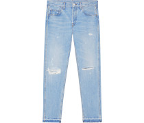 Light blue denim punk pant