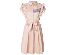 lace trim belted dress
