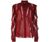 sheer stripes frilled blouse