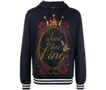 I want to be king print hoodie