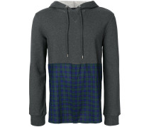 checked-pannel hoodie