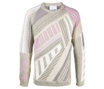 geometric pattern tricot-panel jumper
