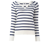 striped V-neck jumper