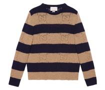 Gestreifter Pullover mit GG-Stickerei