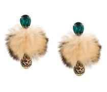 fur crystal clip-on earrings