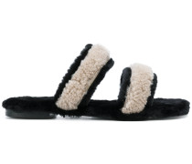 shearling double strap sandals