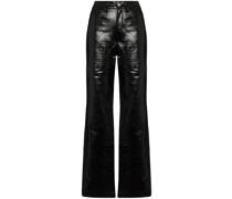 Rosie snakeskin-effect straight-leg trousers