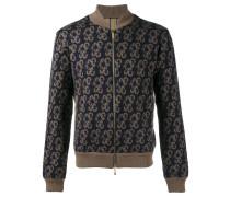 knitted paisley bomber jacket