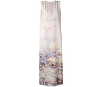 Langes Seidenkleid mit floralem Print