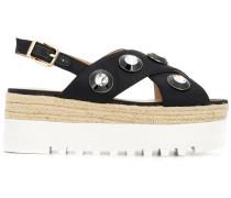crystal embellished flatform sandals