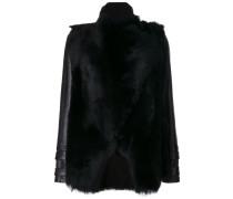 panelled fur jacket