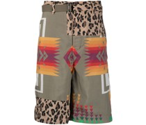 mix-print belted shorts