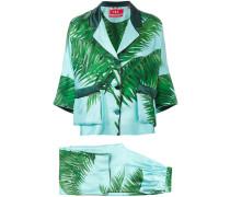 palm print trouser suit - women - Seide - L