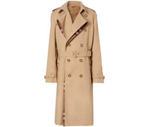 signature check loop-back trench coat