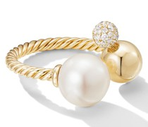 18kt yellow  Solari diamond and pearl open cluster ring