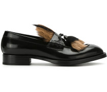 black fur tassel loafers