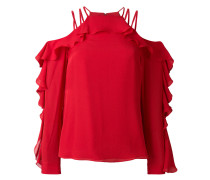 ruffled cold shoulder blouse