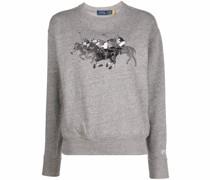embroidered motif cotton sweatshirt