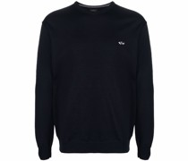 embroidered logo virgin wool sweater