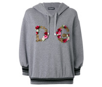 floral embroidery logo hoodie