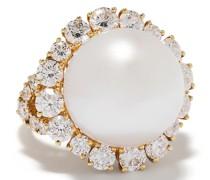 18kt Gelbgoldring mit Perle und einem Diamanten