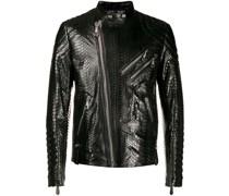 snake-effect biker jacket