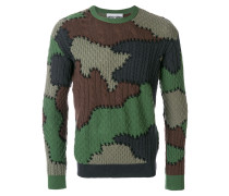 camouflage cable knit sweater