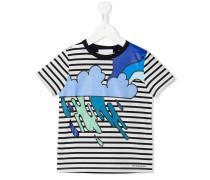 Gestreiftes T-Shirt mit Wolken-Print