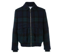 bi-material checked jacket