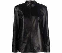 mock-neck leather blouse