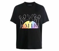 x Playboy T-Shirt mit Regenbogen-Print